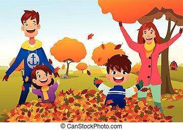 gezin, viert, herfst, seizoen, buitenshuis