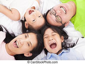 gezin, vloer, vrolijke