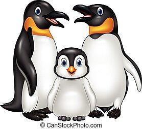 gezin, vrijstaand, achtergrond, witte , penguin, spotprent, ...