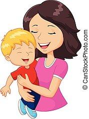gezin, vrolijke , spotprent, vasthouden, moeder