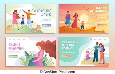 gezin, web, voorbeelden, set, pagina