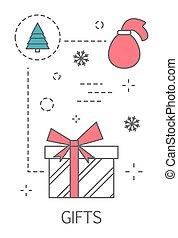gezin, winter, cadeau, concept., vakantie, kerstmis viering