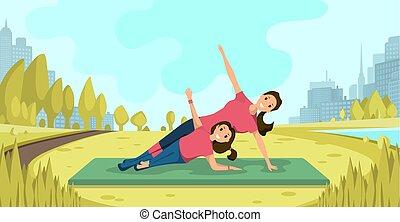 gezin, yoga, oefeningen, op, vers zenden uit, plat, vector