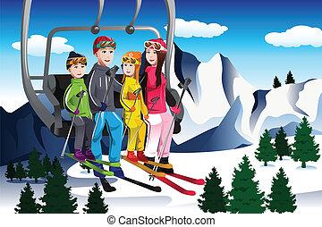 gezin, zittende , lift, gaan, skien, ski