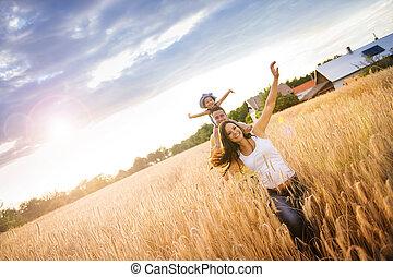 gezin, zomer, uitgeven, tijd, samen, in, natuur