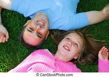 gezin, zomer, vrolijke