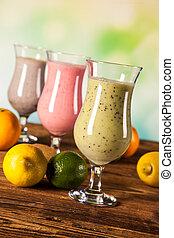 gezond dieet, proteïne, schudden, en, vruchten
