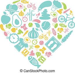 gezond hart, levensstijl, pictogram