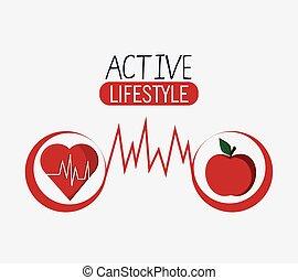 gezond hart, ontwerp, levensstijl, appel