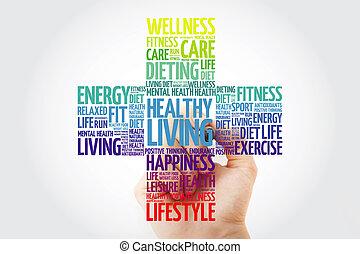 gezond leven, collage, woord, wolk