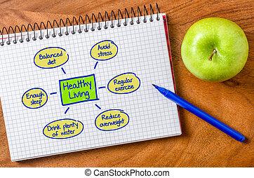 gezond leven, geschreven, notepad