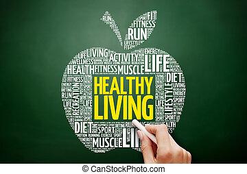gezond leven, woord, appel, wolk