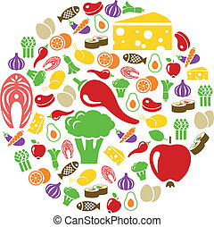 gezond voedsel, cirkel, iconen