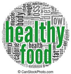 gezond voedsel, concept, label, wolk