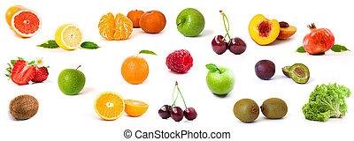 gezond voedsel, ingredienten, op, een, witte achtergrond
