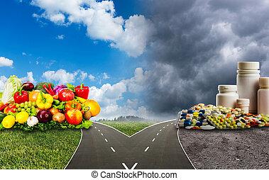 gezond voedsel, medisch, of, pillen