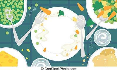 gezond voedsel, schaaltje, tafel, illustratie