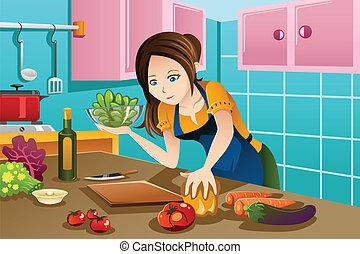 gezond voedsel, vrouw, het koken, keuken