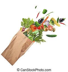 gezond voedsel, witte , vrijstaand, achtergrond