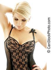 gezonde , #2, lingerie, black , blonde