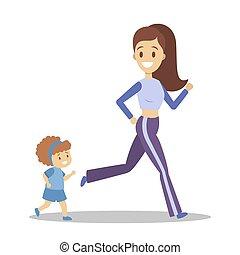 gezonde , actieve levensstijl, gezin, jogging.