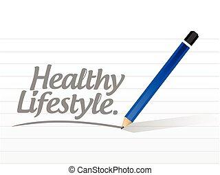 gezonde , boodschap, levensstijl, illustratie