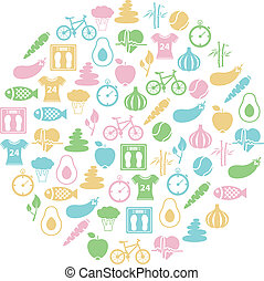 gezonde , cirkel, levensstijl, pictogram