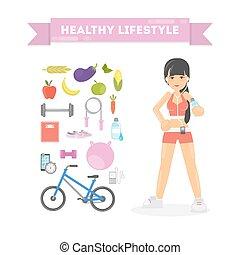 gezonde , concept., levensstijl