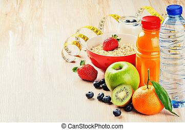 gezonde , concept., sap, voedingsmiddelen, graan, fitness, vruchten, fris