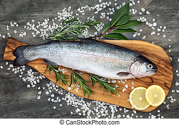 gezonde , de forel van de regenboog, voedingsmiddelen, hart