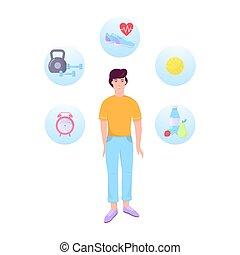 gezonde , fitness, infographic., sportende, levensstijl