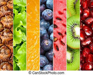 gezonde , fris, achtergrond, vruchten