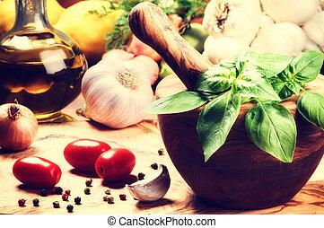 gezonde , fris, kokende bestanddelen
