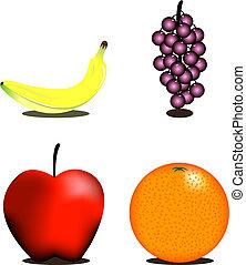 gezonde , fruit, iconen