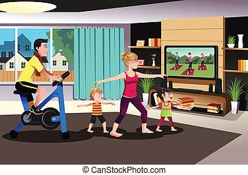 gezonde , gezin, het uitoefenen, samen