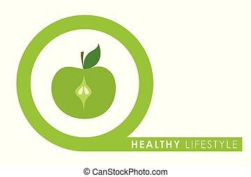 gezonde , groene, cirkel, levensstijl, appel