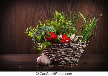 gezonde , groentes, en, keukenkruiden, in, wicker mand
