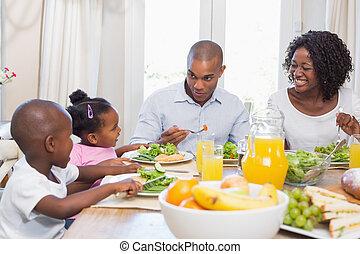 gezonde , het genieten van, mea, gezin, vrolijke