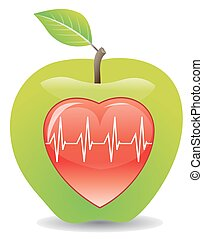 gezonde , illustratie, groene appel, hart