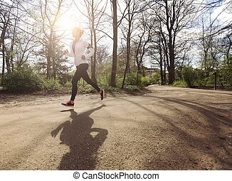 gezonde,  jogging, vrouw,  park, jonge