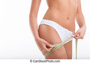 gezonde , jonge, haar, figuur, vrouw, het meten