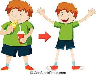 gezonde , jongen, overgewicht, jonge, gewicht