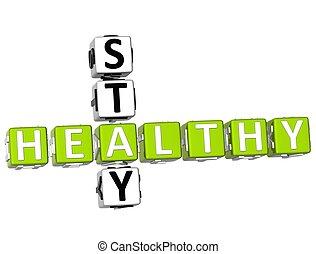 gezonde , kruiswoordraadsel, 3d, verblijf