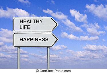 gezonde , leven, straat, geluk, tekens & borden