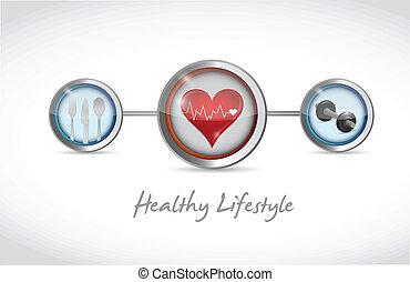 gezonde levensstijl, conceptontwikkeling, illustratie