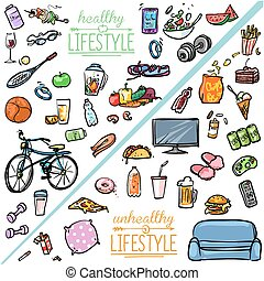 gezonde levensstijl, lifestyle., vs, ongezonde