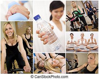 gezonde levensstijl, montage, mooie vrouwen, het uitoefenen, op, gym