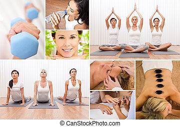 gezonde levensstijl, montage, mooie vrouwen, op, spa