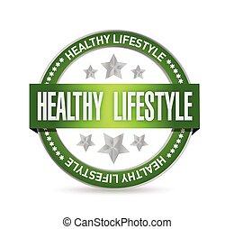 gezonde levensstijl, ontwerp, illustratie, zeehondje