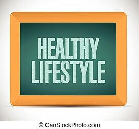 gezonde levensstijl, plank, illustratie, meldingsbord